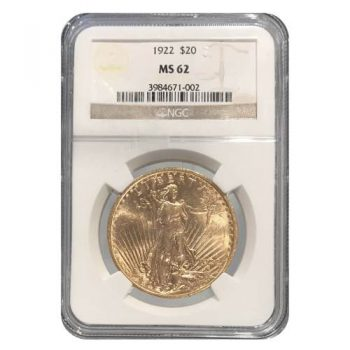 1922 $20 Gold St Gaudens NGC MS62