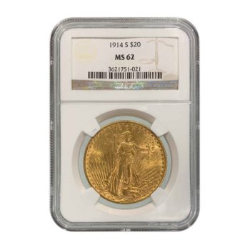 1914-S $20 St Gaudens NGC MS62