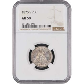 1875-S Twenty Cent Piece NGC AU58