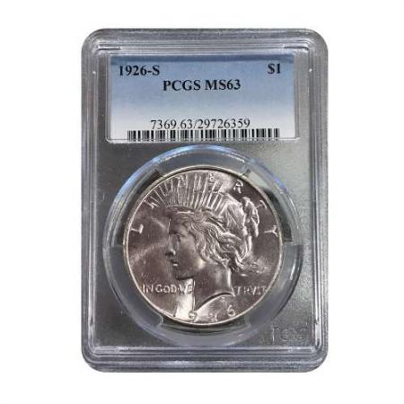 1926-S Peace Silver Dollar PCGS MS63