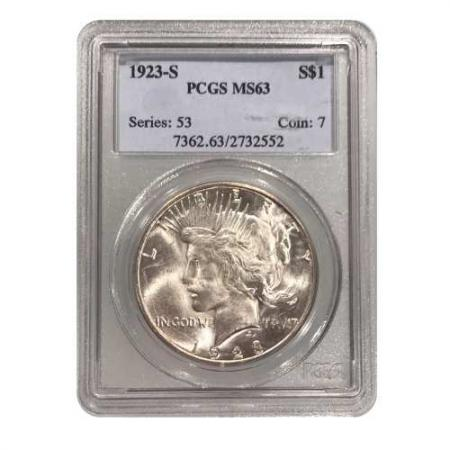 1923-S Peace Silver Dollar PCGS MS63