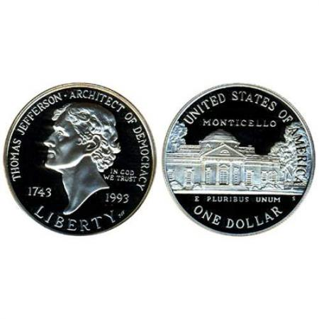 1993 Jefferson Silver Dollar