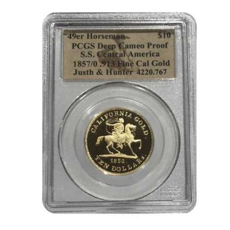 1857/0 $10 Gold 49er Horseman S.S. Central America. PCGS Deep Cameo Proof