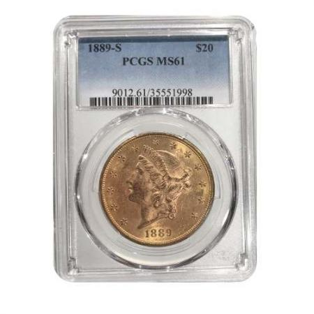1889-S $20 Gold Liberty PCGS MS61