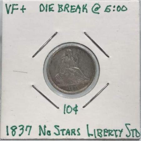 1837 Liberty Seated Dime no stars VF+