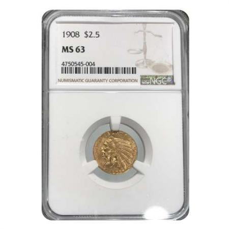 1908 $2.5 Gold Indian NGC MS63