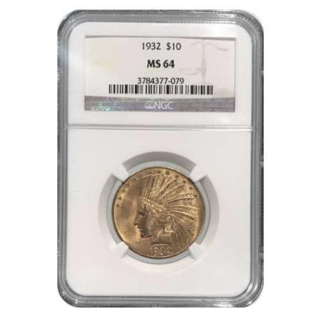 1932 $10 Gold Indian NGC MS64