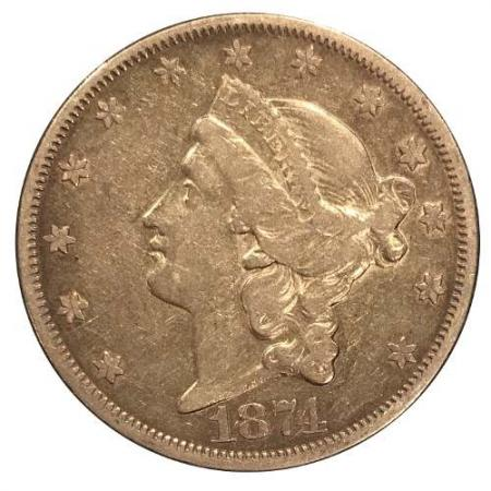 1874-S $20 Gold Liberty Coin