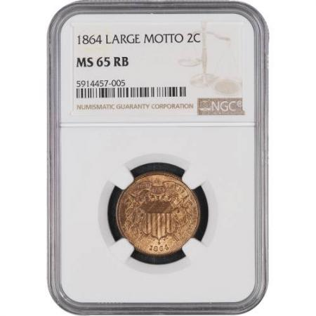 1864 Two Cents NGC MS65 RB